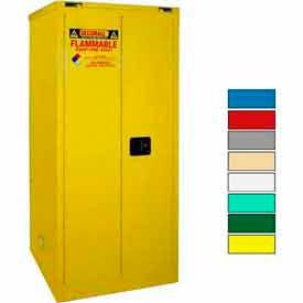 Securall® 120-Gallon, Sliding Door, Haz Waste Drum Storage Cabinet Yellow