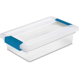 "Sterilite Small Clip Clear Storage Box With Latched Lid 19618606 - 11""L x 6-5/8""W x 2-3/4""H - Pkg Qty 6"