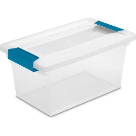 "Sterilite Medium Clip Clear Storage Box With Latched Lid 19628604 - 11""L x 6-5/8""W x 5-3/8""H - Pkg Qty 4"