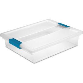 "Sterilite Large Clip Clear Storage Box With Latched Lid 19638606 - 14""L x 11""W x 3-1/4""H - Pkg Qty 6"