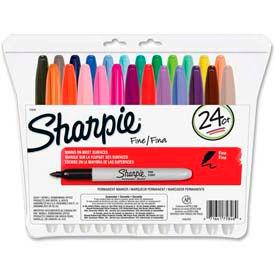 Sharpie® Permanent Marker, Fine, Assorted Ink, 24/Set