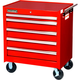 "SPG International VRB-2705RD 27"" 5-Drawer Roller Cabinet W/ Ball Bearing Slides, Red"