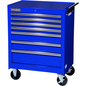 "SPG International VRB-2707BU 27"" 7-Drawer Roller Cabinet W/ Ball Bearing Slides, Blue"