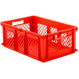 """SSI Schaefer Euro-Fix Solid Base/Mesh Sides Container EF6221 - 24"""" x 16"""" x 8"""", Red - Pkg Qty 6"""