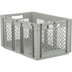 "SSI Schaefer Euro-Fix Solid Base/Mesh Sides Container EF6321 - 24"" x 16"" x 13"", Gray - Pkg Qty 4"
