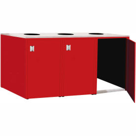 """Triple Recycle Cabinet - 90""""W x 27-3/4""""D x 39-15/32""""H (Carmine Red)"""