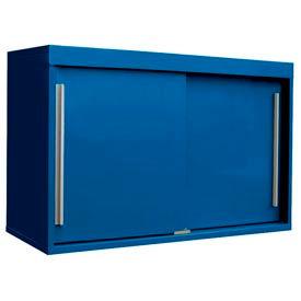 """48"""" Sliding Door Upper Cabinet-48""""W x 15""""D x 30""""H-Monaco Blue"""