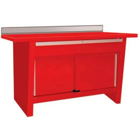 Custom® Series-Stationary, Steel Top, 2 Drawers/2 Doors-Carmine Red