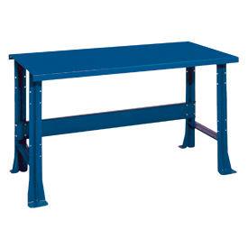 "Shureshop® bench-stationary, painted steel top, 60"" x 29""-Monaco Blue"