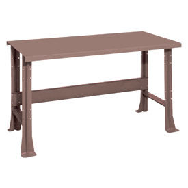 "Shureshop® bench-stationary, painted steel top, 60"" x 29""-Pewter Grey"