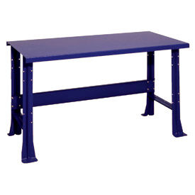 "Shureshop® bench-stationary, painted steel top, 60"" x 29""-St.Louis Blue"