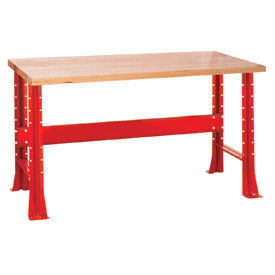 "Shureshop® bench-stationary, maple top, 60"" x 30""-Carmine Red"