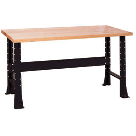 "Shureshop® bench-stationary, maple top, 60"" x 30""-Gloss Black"