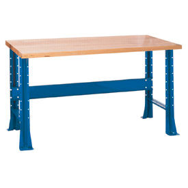 "Shureshop® bench-stationary, maple top, 60"" x 30""-Monaco Blue"