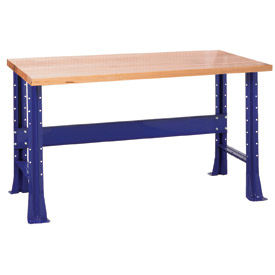 """Shureshop® bench-stationary, maple top, 72"""" x 30""""-St.Louis Blue"""