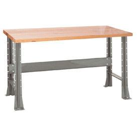 "Shureshop® bench-stationary, maple top, 72"" x 30""-Sebring Grey"