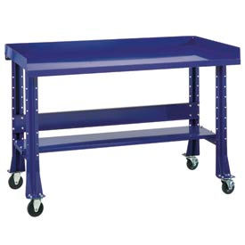 "Shureshop® bench w/acc kit-portable,painted steel top,60""x29""-St.Louis Blue"