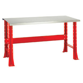 """Shureshop® bench-stationary, stainless steel top, 72"""" x 29""""-Carmine Red"""