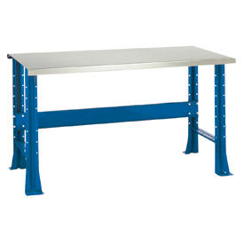 """Shureshop® bench-stationary, stainless steel top, 72"""" x 29""""-Monaco Blue"""