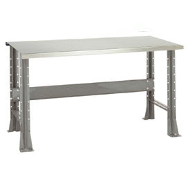 "Shureshop® bench-stationary, stainless steel top, 72"" x 29""-Sebring Grey"