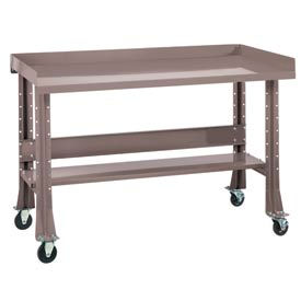 """Shureshop® bench w/acc kit-portable, stainless steel top, 72""""x29""""Pewter Grey"""
