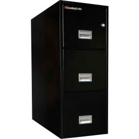 "3 Drawer Insulated Vertical Fire File - 31"" Deep Black, Letter"