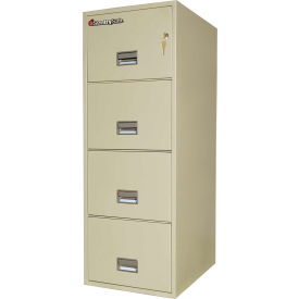 "4 Drawer Insulated Vertical Fire Filing Cabinet - 25""D, Putty, Letter"