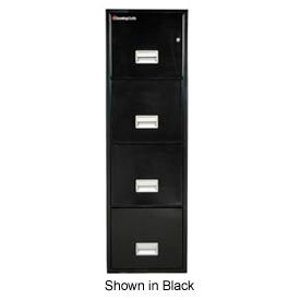 "4 Drawer Insulated Vertical Fire Filing Cabinet - 25""D, Sand, Letter"