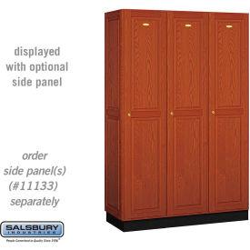 Salsbury Solid Oak Executive Wood Locker 11368 - Single Tier 3 Wide, 16x18x72, 3 Door, Medium Oak