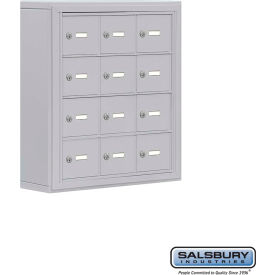 "Cell Phone Storage Locker, Surface Mounted, 4 Door High, 5""D, Keyed Locks, 12 A Doors, Aluminum"