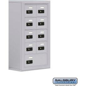 "Cell Phone Storage Locker, Surface Mounted, 5 Door High, 8""D, Combo Locks, 8A & 1 B Door, Aluminum"