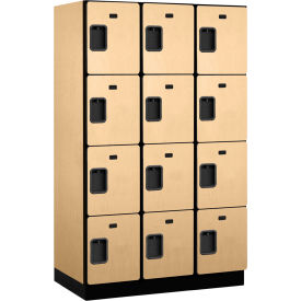 Salsbury Extra Wide Designer Wood Locker 24361 - Four Tier 3 Wide 15x21x18 Maple Partially Assembled