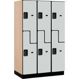 Salsbury Extra Wide Designer Wood Locker 27361 - Z-Style 3 Wide 15x21x72 Gray Partially Assembled
