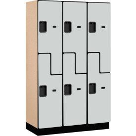 Salsbury Extra Wide Designer Wood Locker 27368 - Z-Style 3 Wide 15x18x72 Gray Partially Assembled