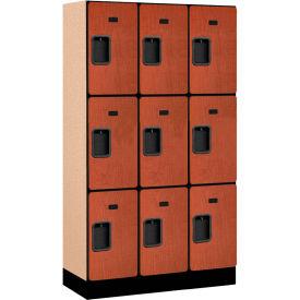 """Salsbury Designer Wood Locker 33355 - Triple Tier 3 Wide 12""""W x 15""""D x 20""""H Cherry Unassembled"""