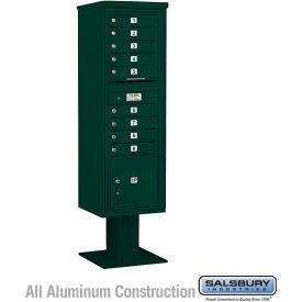 "Salsbury 4C Pedestal Mailbox 3415S-09 - 70-1/4""H Single Column MB1/1 PL4 Green"