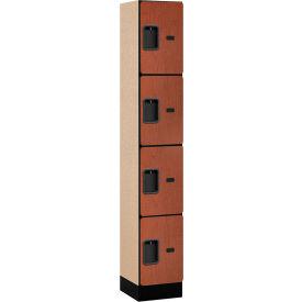 "Salsbury Designer Wood Locker 34165 - Four Tier 1 Wide 12""W x 15""D x 18""H Cherry Assembled"