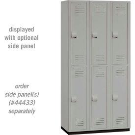 """Salsbury Heavy Duty Plastic Locker, Double Tier, 3 Wide, 12""""W x 18""""D x 36""""H, Gray"""