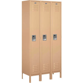 """Salsbury Metal Locker 61365 - Single Tier 3 Wide 12""""W x 15""""D x 72""""H Tan Unassembled"""