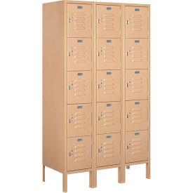 """Salsbury Metal Locker 65355 - Five Tier 1 Wide 12""""W x 15""""D x 12""""H Tan Unassembled"""