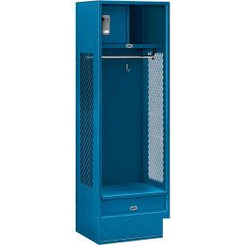 """Salsbury Gear Metal Locker 70018 - Open Access 24""""W x 18""""D x 72""""H Blue Unassembled"""