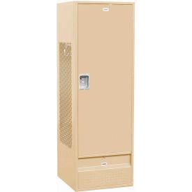 """Salsbury Gear Metal Locker 71024 - Solid Door 24""""W x 24""""D x 72""""H Tan Unassembled"""