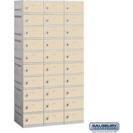 """Salsbury Plastic Locker, Ten Tier, 3 Wide, 12-3/4""""W x 18""""D x 7-5/16""""H, Tan, Assembled"""