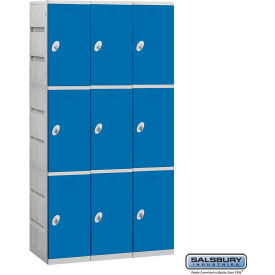 "Salsbury Plastic Locker, Triple Tier, 3 Wide, 12-3/4""W x 18""D x 24-5/16""H, Blue, Assembled"
