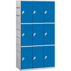 """Salsbury Plastic Locker, Triple Tier, 3 Wide, 12-3/4""""W x 18""""D x 24-5/16""""H, Blue, Unassembled"""