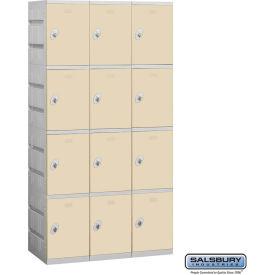 """Salsbury Plastic Locker, Four Tier, 3 Wide, 12-3/4""""W x 18""""D x 18-1/4""""H, Tan, Assembled"""