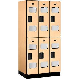 """Salsbury C-Thru Designer Wood Locker S-32361 - Double Tier 3 Wide 12""""Wx21""""Dx36""""H Maple Unassembled"""