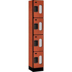 "Salsbury Designer Wood Locker S-34165 - Four Tier 1 Wide 12""W x 15""D x 18""H Cherry Assembled"