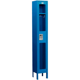 "Salsbury See-Through Metal Locker S-61162 - Single Tier 1 Wide 12""W x 12""D x 72""H Blue Unassembled"