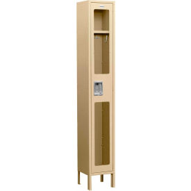 "Salsbury See-Through Metal Locker S-61165 - Single Tier 1 Wide 12""W x 15""D x 72""H Tan Assembled"